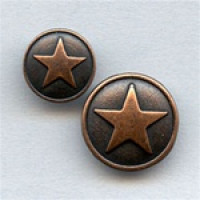 M-178-B  Metal Antique Copper 5-Point Star Button, 2 Sizes