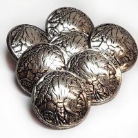 M-179 - Indian Head Metal Button, Sold by the Dozen