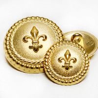 M-1875 Matte Gold Fleur de Lis Button - 2 Sizes