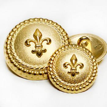 M-1875 Matte Gold Fleur de Lis Button - 2 Sizes