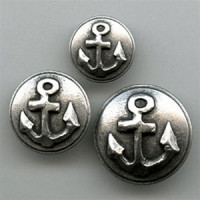M-2003-Antique Silver Anchor Button, 3 Sizes