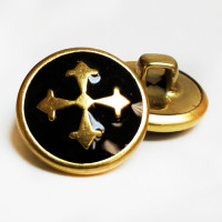"M-2810  Gold Metal with Black Epoxy Cross Button - 5/8"", Sold by the Dozen"