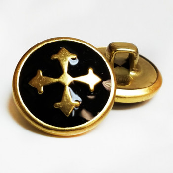 """M-2810  Gold Metal with Black Epoxy Cross Button - 5/8"""", Sold by the Dozen"""