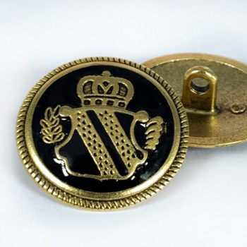 """M-3215BK  Antique Gold with Black Epoxy Coat Button, 1-1 /8"""""""