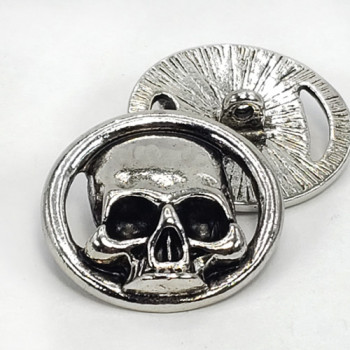 """M-6219A - Large Metal Skull Button, 1-1/8"""" - Bright Antique Silver"""