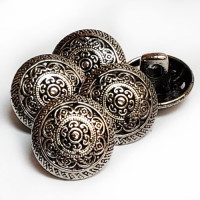 M-7852-Antique Silver Metal Blouse Button, Sold by the Dozen