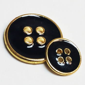 M-7870-D  Gold with Black Epoxy Blazer Button - 2 Sizes, Priced by the Dozen