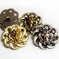M-7913-Lion's Head Metal Button, 4 Sizes - 3 Colors