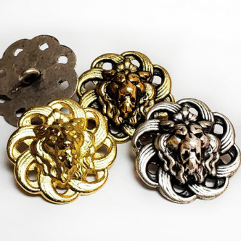 M-7913-Lion's Head Metal Button, 4 Sizes - 3 Colors