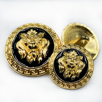 M-7914 GBK Lion's Head Metal Button, 2 Sizes