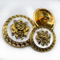 M-7914 GW Lion's Head Metal Button, 2 Sizes