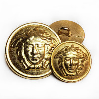 M-7921-Medusa Head Metal Fashion Button, 2 Sizes