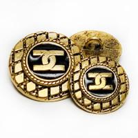 M-7902 Antique Matte Gold Double CC Button with Black Epoxy, 2 Sizes