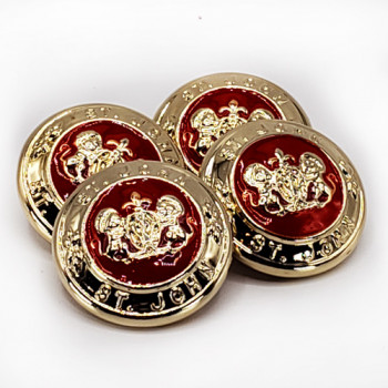"""M-7899 Genuine Gold St. John set of 4 with Red Epoxy, 1"""""""