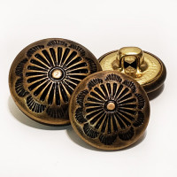 MTL-023  Antique Brass Western Look Metal Button, 2 Sizes