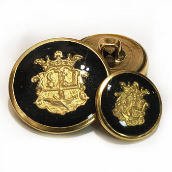 MTL-12  Gold with Black Epoxy Metal Button, 3 Sizes