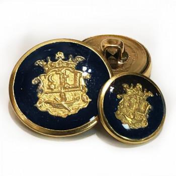 MTL-13  Gold and Navy Epoxy Blazer Button, 2 Sizes