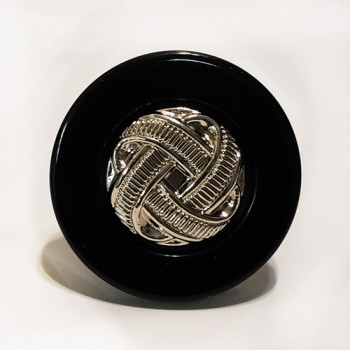 "NV-0022 - 1 1/4"" Black and Silver Fashion Button"