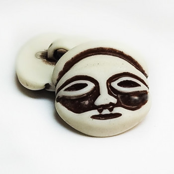 "NV-1309 - 7/8"" African Tiki Face Button in Imitation Bone"