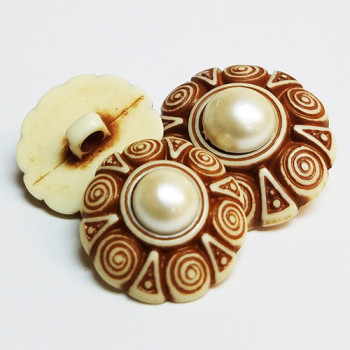 NV-1291 Imitation Bone and Pearl Fashion Button, 2 sizes