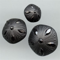 NV-1998-Satin Black Fashion Button, 2 Sizes