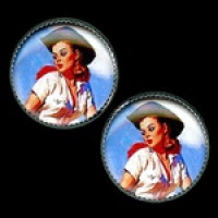 OCA-242- Cowgirl Pinup Button