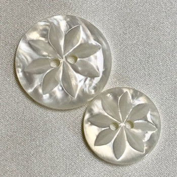P-0380 - White, Wave Pearl Fashion Button, in 4 Sizes - Priced by the Dozen