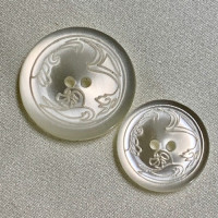 P-0381-White Lasered Pattern Pearly Fashion Button, 3 Sizes  Prices by the dozen.