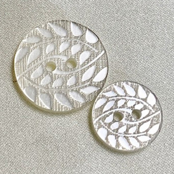 P-0382 - Pearly White Lasered Fashion Button, 2 Sizes - Priced by the Dozen