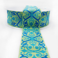 R-464 Col 2 Jacquard Teal  and Lt. Green  Ribbon 1-1/2 ""