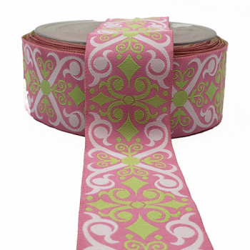 "R-464 Col 3 Jacquard Pink  and Lt. Green  Ribbon 1-1/2 "" -by the yard"