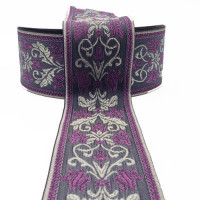 S-04767D Col. 60 Metallic Silver, Purple and Gray,  Jacquard Ribbon - 2""