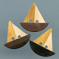 WD-1015 RN-Wooden Sailboat Button