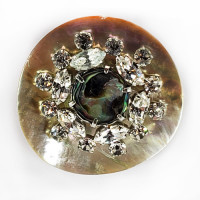 AA-1156 - Agoya Shell Base, Rhinestone and Gold, with New Zealand Abalone Shell Center, 1-3/4""