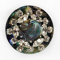 AA-1157- New Zealand Abalone Shell with Silver and Rhinestone layer, and NZ Abalone Center, 1-1/2""