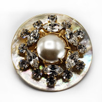 AA-1158 - Agoya Shell Base, Rhinestone and Gold Layer, with Spray Pearl Center, 1-3/4""
