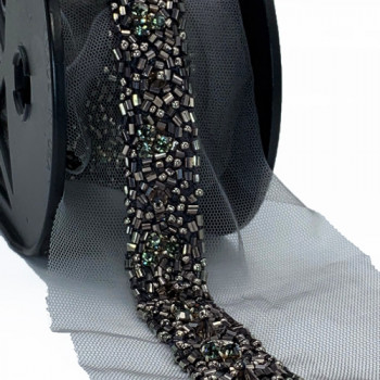 ACC 57455 Color 14 -  Dark Smoke Beaded Rhinestone Ribbon, 3/4 - Sold by the Yard