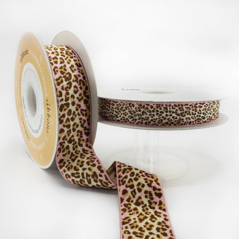 "JM-11 - Col. 2 Renaissance Ribbon. Pink and Brown Leopard  Jacquard Ribbon, 2 Sizes - 5/8"", 1-1/2"", Sold by the Yard"