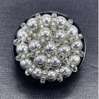 """B-603 - Silver Hand Beaded Button with Black Base 1-1/4"""""""