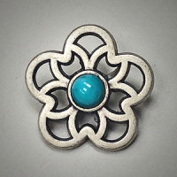 M-3160-Matte Antique Silver and Turquoise Button