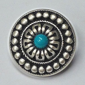 M-3165 Ant. Silver and Turquoise Button