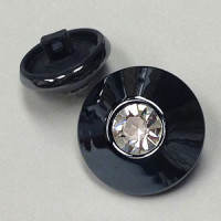 RG-1342 Gunmetal and Rhinestone Button - 2 Sizes