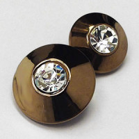 RG-1343 Bronze and Rhinestone Button - 2 Sizes