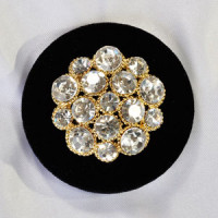 9249 Gold Rhinestone Velvet Button, 2 Sizes and 2 Base Colors