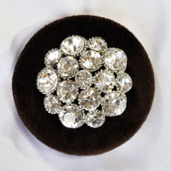 9250 Silver Rhinestone Velvet Button (2 Colors)