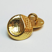 M-071-D Gold Metal Fashion Button, Priced per Dozen.