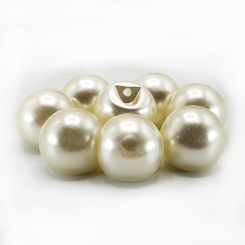 "FB-6547 -Large  Ivory Full Ball Pearl Button, 11/16"" - Priced Per Dozen"
