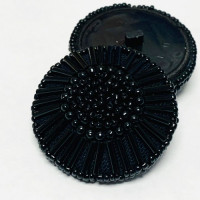 G-589 - Large Black Beaded Button