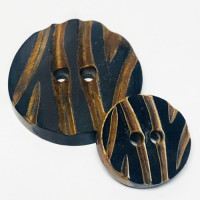 GH-1090 Hand Stained, Brown and Black Carved Horn Button, 2 Sizes