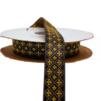 HD-24 Col.2  Gold and Black Fleur De Lys Jacquard Ribbon 1""